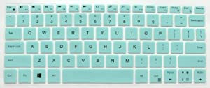 BingoBuy US Layout Keyboard Protector Cover Skin Compatible for Dell XPS 13-9365 13-9370 13-9380 with BingoBuy Card Case(Tiffany Blue)