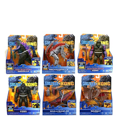Godzilla vs Kong 6' Godzilla and Kong Hong Kong Battle - MechaGodzilla with HEAV - Warbat w/Osprey - Skull Crawler with HEAV - Kong with Fighter Jet- 6 Pack Bundle
