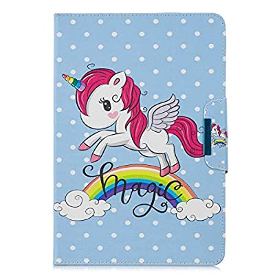 "XTstore Funda Universal para Tablet de 9-10.1"", Carcasa Flip Case Cubierta Protectora para iPad 2018,Samsung Galaxy Tab S5e/Tab A6 10.1/Tab E 9.6"",Huawei MediaPad T3/T5 10, Lenovo TB-X103F, Unicornio"