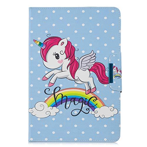 XTstore Funda Universal para Tablet de 9-10.1', Carcasa Flip Case Cubierta Protectora para iPad 2018,Samsung Galaxy Tab S5e/Tab A6 10.1/Tab E 9.6',Huawei MediaPad T3/T5 10, Lenovo TB-X103F, Unicornio