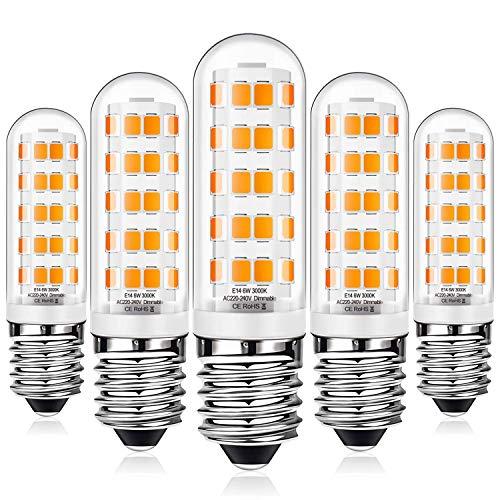 E14 LED Dimmbar Warmweiß 6W Led Lampe Ersatz 50W 60W Halogenlampe, E14 Sockel Led leuchtmittel 520LM Kein Flackern, AC220-240V, 5er Pack
