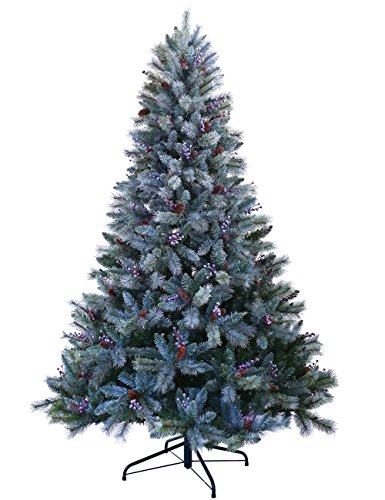 ABUSA Christmas Trees 9 ft Prelit Snowy Everest Needles Pine Cones and Berries Xmas Tree with...