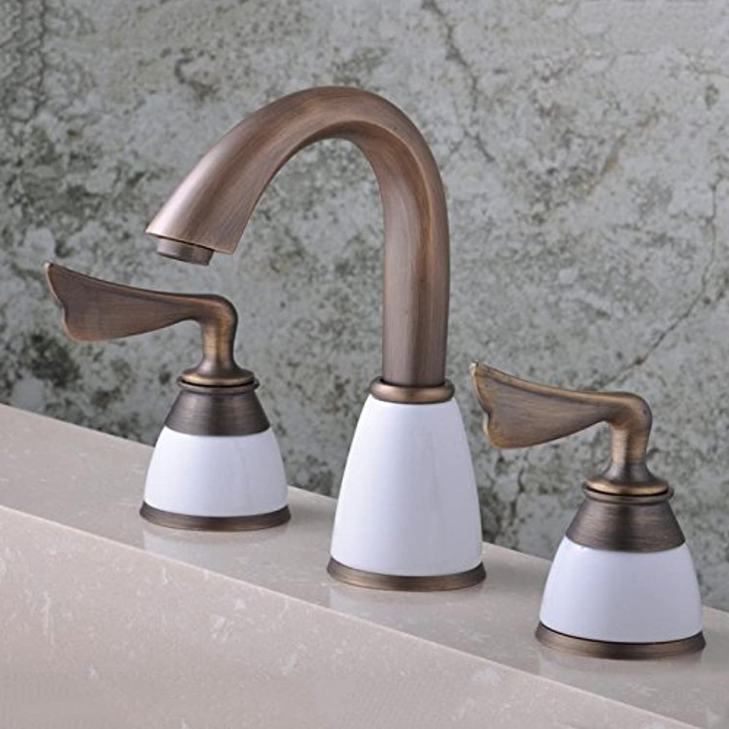 Bijjaladeva Antique Bathroom Sink Vessel Faucet Basin Mixer Tap The sink faucet and cold water tap 3 piece retro bath into the wall tap water heating mixing faucet kit
