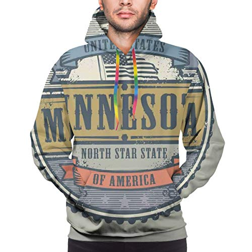 Men's Hoodies 3D Prints Sweatshirts Pullover with Pocket North Star State of America Lettering in Retro Round Frame with Country Flag Pullover EcoSmart Fleece Hooded Sweatshirt(3XL)