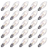 SkrLights 25 Pack Clear Christmas Light Bulbs C7 Outdoor String Light Replacement Bulbs, C7/E12 Candelabra Base, 5 Watt-Clear