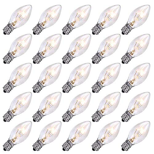SkrLights 25 Pack Clear Christmas Light Bulbs C7 Outdoor String Light Replacement Bulbs, C7/E12 Candelabra Base, 5 Watt-Clear