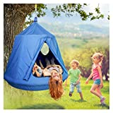 amzdeal Kids Hanging Tree Tent Waterproof Swing Play House Portable Hammock Swing Chair with Safety Inflatable Cushion, Indoor & Outdoor Use