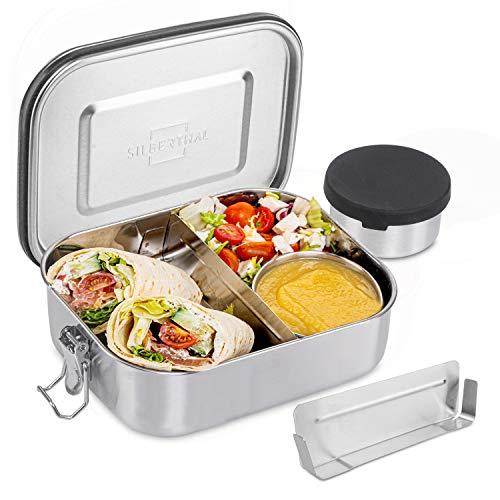 SILBERTHAL Brotdose Edelstahl mit Trennwand – Große Lunchbox 1400ml – Auslaufsicher – Mit Extra Behälter für Saucen und Dips