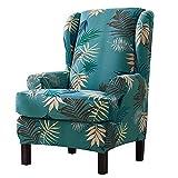 YYWJ - Fundas para sillón orejero, 2 unidades Funda protectora elástica estampada + cojín antideslizante sofá sillón orejeras sillón