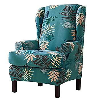 Feian 2pcs Wing Chair Slipcovers Stretchy Wingback Armchair Covers Spandex Polyester Sofa Covers Leaves Printed Furniture Protector  Green