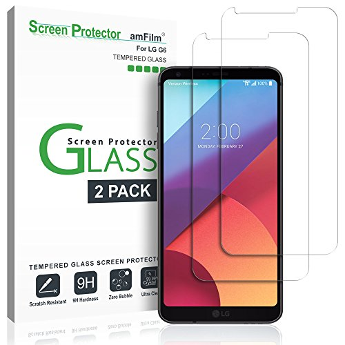 Price comparison product image amFilm LG G6 Screen Protector Glass,  Tempered Glass Screen Protector for LG G6 2.5D Rounded Edge LGG6 2017 (2-Pack)
