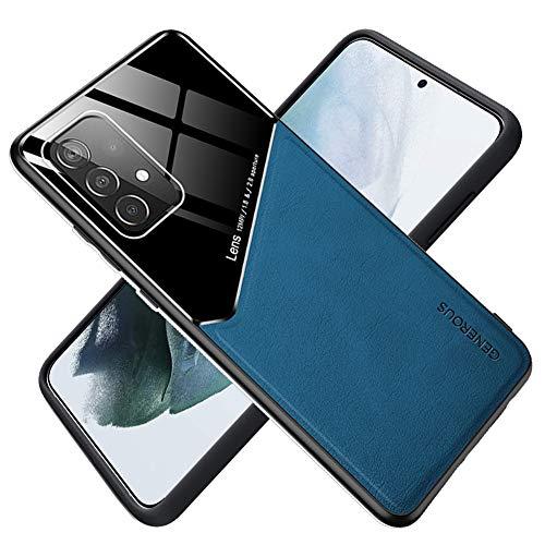 ALAMO Hülle Kompatibel Samsung Galaxy A72 (4G / 5G), Premium Glas PU Leder Hybrid Stoßfest Hülle Cover Magnetische Funktion - Blau