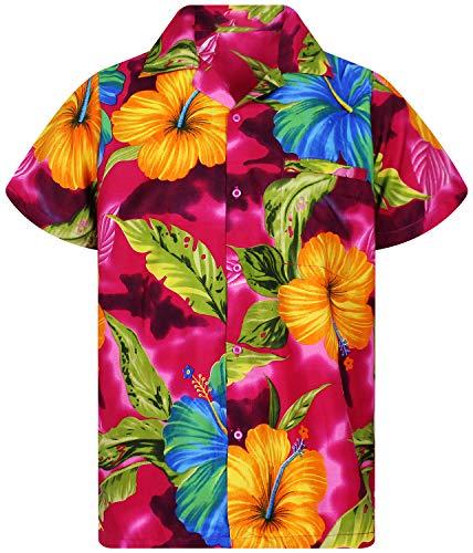 Funky Camisa Hawaiana, BigFlower, Pink, S