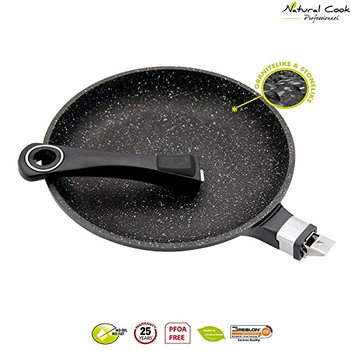 Natural Cook Professionnel - Fry Pan In Nonstick Stonelike Granitelike & Ceramic Coating Frying Pan Cookware With Detachable Handles - Suitable For All Cookers, Even Induction Cookers - 11""