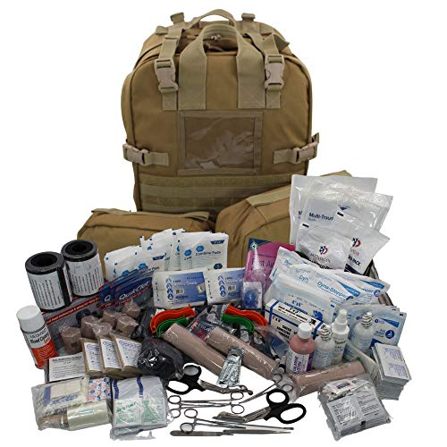 Luminary Stomp Medical Backpack Fully Stocked First Aid Trauma Kit Special Operations Pack Medical Bug Out Bag for EMS/EMT First Responders Preppers and Outdoorsman (Tan)