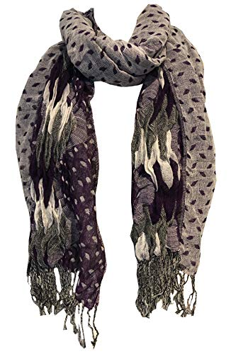 Pamper Yourself Now Lila, weiß und grau klobige Diamant-Design dehnbar Schal (Purple, white and grey chunky diamond design stretchy scarf)