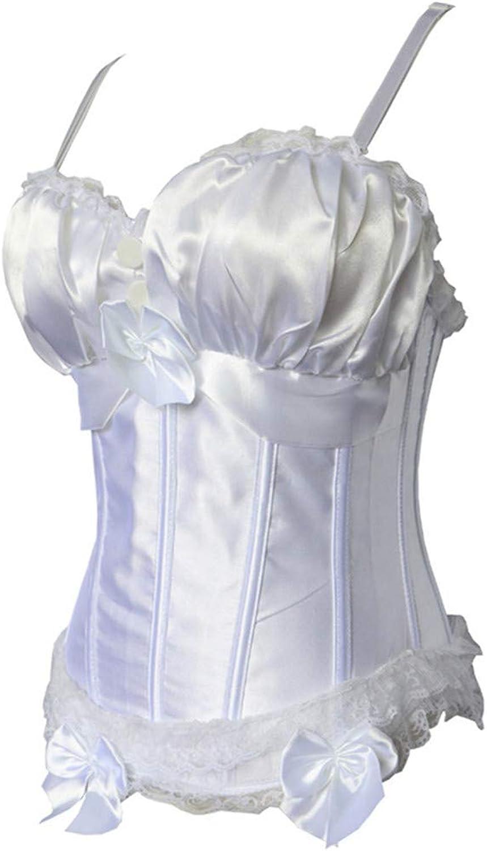 Women Corset Lace Bowknot Decoration Sexy Satin Corset Lingerie Black Waist Training Corset Plus Size Satin Women's Lace Up Overbust Lace Trim Waist Cincher Bustier Bodyshaper Top with String Wedding