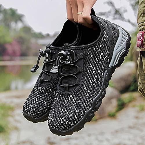 Aerlan Gym Shoes Lightweight Shoes,Zapatos para Caminar al Aire Libre Respirables, Zapatos para Caminar para Hombres Casuales Strands-Black_47,Botas de montaña Deportivas