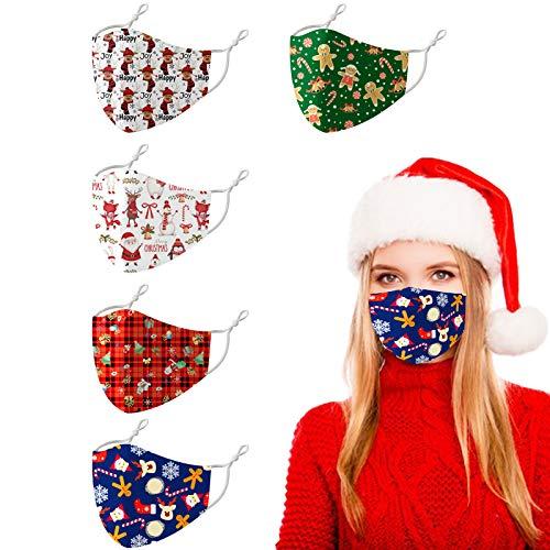 Reusable Christmas Santa Clause Cloth Face Cover Mask Breathable, Pretty Fashion Elk Decoration Bandana Printed for Women Men (Christmas 5Pcs/H)