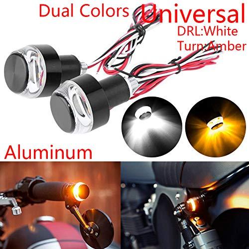 Taben - Indicatori di direzione a LED per moto, con luci stroboscopiche, per manubrio della moto, luci laterali, luci angolari (1 coppia)