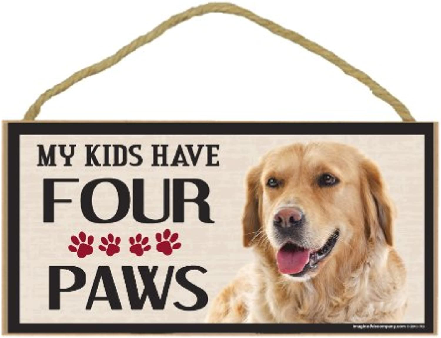 Imagine This Wood Breed Four Paws Sign, golden Retriever