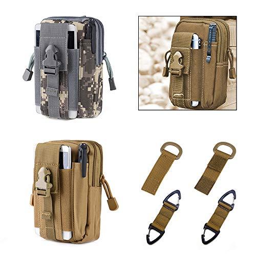 PUDSIRN 2 bolsas tácticas MOLLE, bolsa EDC multiusos para cinturón de utilidad con mosquetones, ganchos para llaves, hebillas de nailon para senderismo, actividades al aire libre
