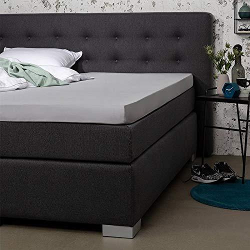 Topper Hoeslaken - Zilver - 180x210 cm - Percal Katoen - Presence - Voor Matrassen Tot 10 CM