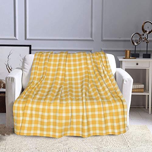 KCOUU Couverture polaire 127 × 152 cm Plaid bûcheron en jaune confortable doux et chaud Couverture décorative pour canapé, lit, canapé, voyage, maison, bureau, toutes saisons