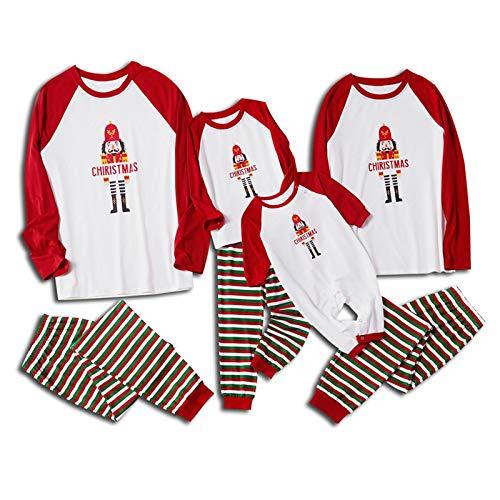 Yumso Noël Parent-Enfant Ensemble Pyjama Famille Femme Homme Enfant Noël Impression De Bande Dessinée Manches Longues Top et Rayure Pantalon Automne et Hiver Vêtement de Nuit