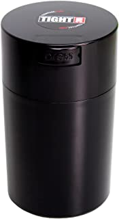 Tightvac - 1 oz to 6 ounce Airtight Multi-Use Vacuum Seal Portable Storage Container for Dry Goods, Food, and Herbs - Black Cap & Body