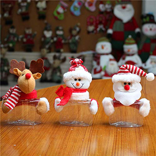 Christmas Candy Jars Christmas Decoration, Home Decoration,Table Decoration, Clear Plastic Candy and Small Cookies jar with Snowman and Deer Doll, Sweet Gift Box Bottle Holder Set of 3