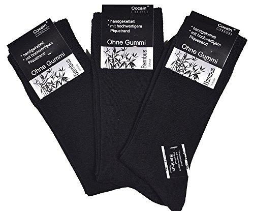 12 Paar Herren oder Damen Bambus Socken ohne Gummi 39/42, Strümpfe ohne Gummi Bambus schwarze bamboo-socks ohne gummirand Kellner-Socke Bambus Größe 35/38 39/42 43/46