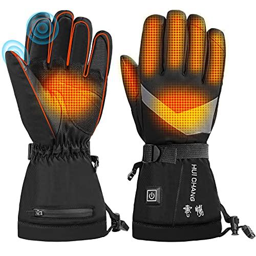 Beheizte Handschuhe,3 Wärmestufen Winter Akku Handschuhe,Warme beheizte Hände den ganzen Tag wasserfeste & Winddichte Outdoor-Bekleidung,Handschuhe für das Radfahren, Motorrad, Wandern Skitouren L