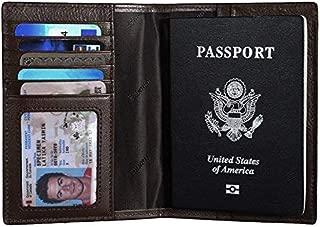 Italian Leather Passport Cover Card Holder Travel Wallet (Bronze Green)