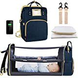 Diaper Bag Backpack, Baby Nappy Changing Bags with Bassinet 3 in 1 Multifunction Waterproof Travel Back Pack with Changing Station, Large Capacity, USB Charging Port for Girls Boys, Blue