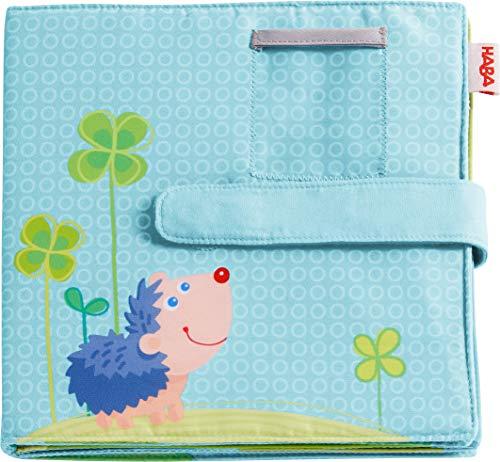 HABA 305258 - Baby-Fotoalbum Glück, Album aus Stoff mit 10 Seiten, Einstecktaschen für 8 Fotos im Format 10 x 15 cm, ab 12 Monaten