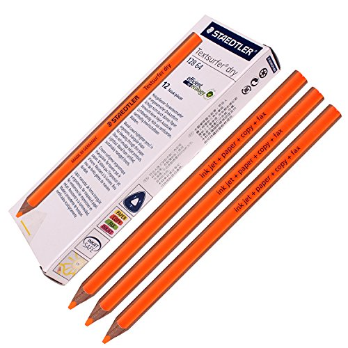 Staedtler Textsurfer Dry Highlighter Pencil 128 64 Drawing for Writing Sketching Inkjet,paper,copy,fax (Pack of 12 Orange)