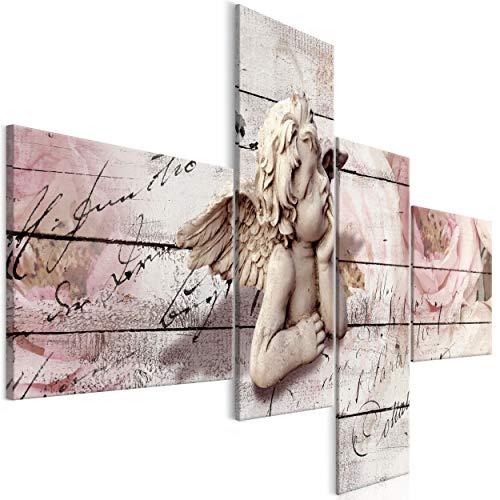 decomonkey Bilder Holz Blumen 100x50 cm 4 Teilig Leinwandbilder Bild auf Leinwand Vlies Wandbild Kunstdruck Wanddeko Wand Wohnzimmer Wanddekoration Deko Engel Aufschrift Rose Rosa Beige Brett