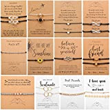 17 MILE 12-18 Pcs Friendship Matching Bracelets Set for Women Promise Wish Card Jewelry Gifts for Best Friends/Family/Couple