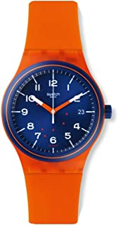 SUTO401 Sistem Tangerine Blue Date Dial Orange Silicone Unisex Watch NEW