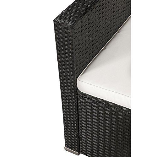 ArtLife Polyrattan Lounge Punta Cana M für 3-4 Personen mit Tisch in schwarz mit Bezügen in Creme - 2