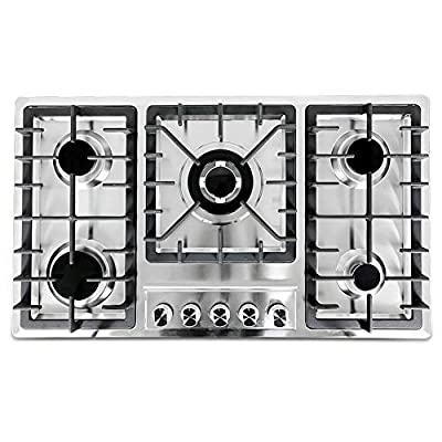 33.8×20 inches Gas Cooktop with 5 Burners,Built-in Stainless Steel Gas cooktop, Cast Iron Grates Easy Clean Gas Stove