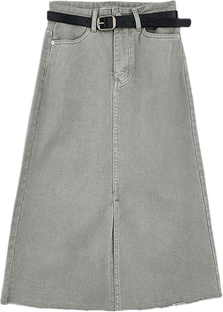 NP Spring Dress mid Long wash Water Retro A-line Skirt high Waist Denim Skirt