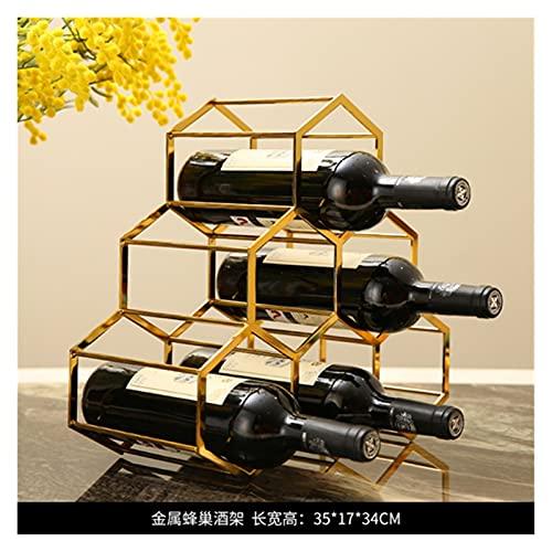 XLBH Forma Exquisita Modern Geometry Metal Wine Holder Decorativo Hierro Arte Grid Botella Organizador Rack Cocina Encimitop Barware Handcraft Mobiliario Almacenamiento en el hogar (Color : A3)