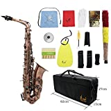 Ammoon Professional Sax Altsaxophon Rot Bronze Biegung Eb Es Abalone Shell Key Carve Muster mit Etui...