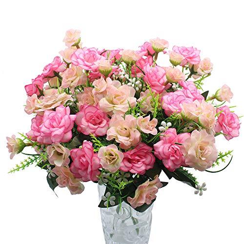 JaneYi 4 Stück Künstliche Rosenblüten Gefälschter Blumenstrauß Künstliche Seidenblumen Pflanzen Blumengesteck für DIY Draußen Haus Küche Tabelle Garten Büro Hochzeit Party Dekor - Rosa und Hellrosa