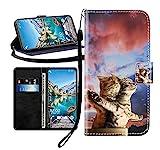 Sunrive Kompatibel mit Asus Zenfone 3 ZE552KL Hülle,Magnetisch Schaltfläche Ledertasche Schutzhülle Etui Leder Hülle Handyhülle Tasche Schalen Lederhülle MEHRWEG(Paar Katze B1)