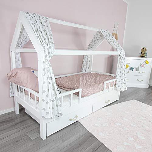 PuckDaddy Hausbett Vorhang Freya – 146 x 298 cm, 2er-Set Stoffhimmel aus 100% Baumwolle in Weiß mit Sterne Muster, hochwertiger Bettvorhang fürs Kinderzimmer