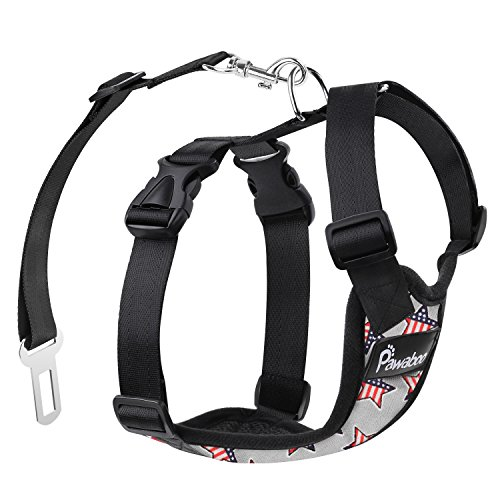 PAWABOO Dog Safety Vest Harness, Pet Car Harness Vehicle Seat Belt with Adjustable