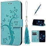 Kompatibel mit Samsung Galaxy Note 9 Hülle Lederhülle, Prägemuster Schmetterling Muster Flip Hülle Handyhülle mit Glitzer Handschlaufe Klapphülle Brieftasche mit Magnetverschluss Kartenfächer,Grün
